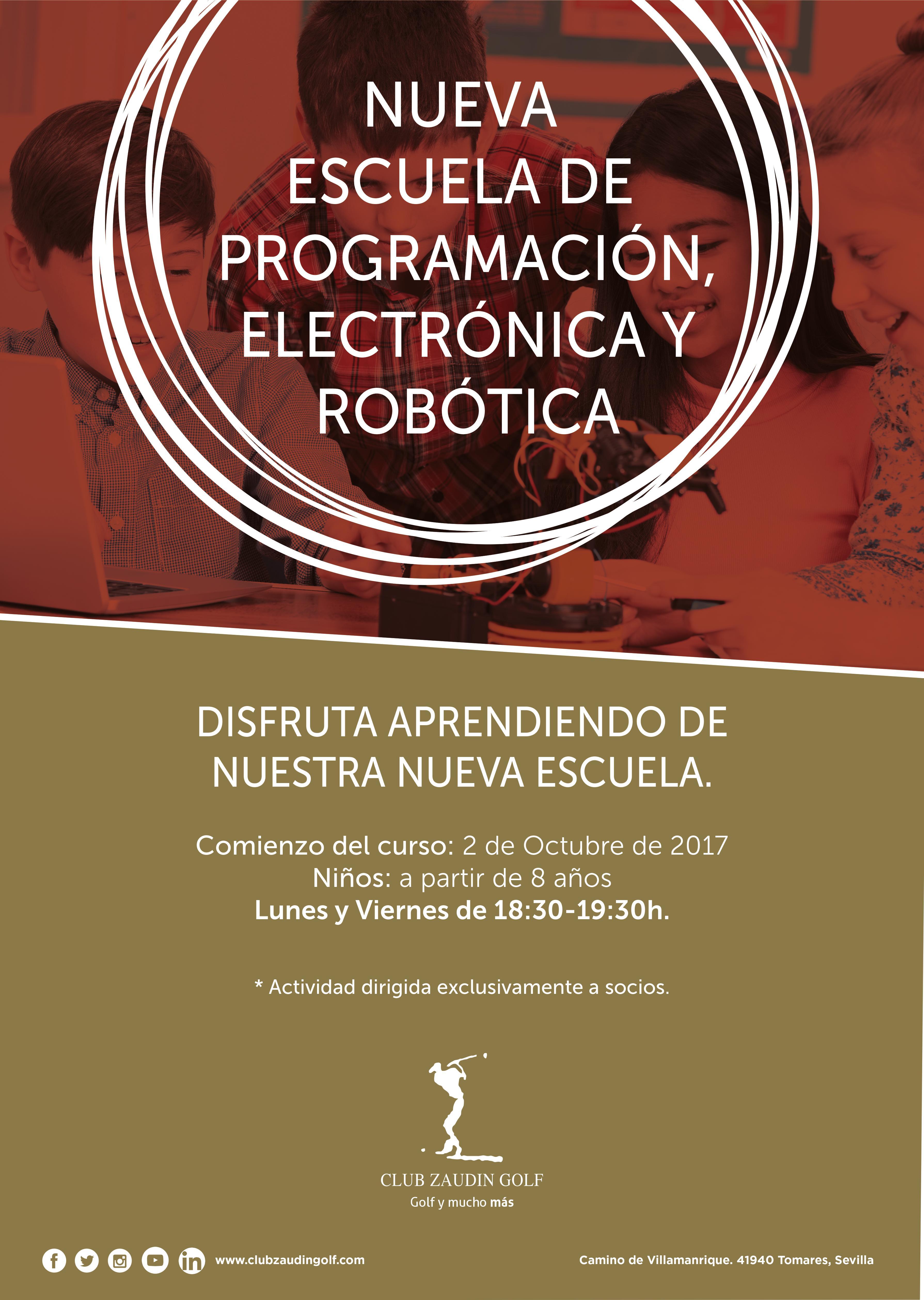 Cartel nueva escuela robótica