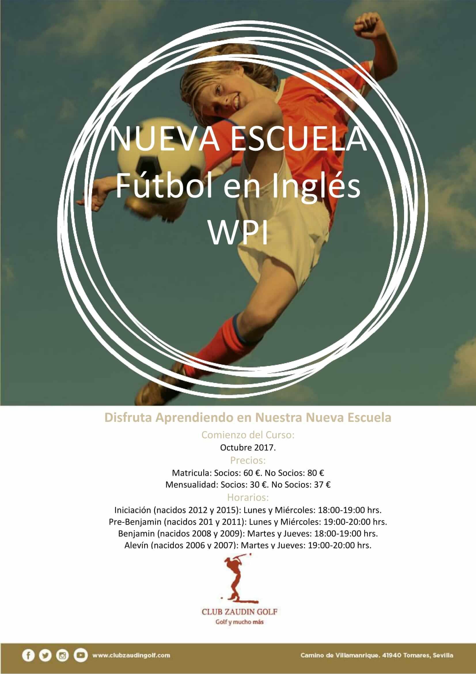Inicio Escuela de Fútbol en Inglés