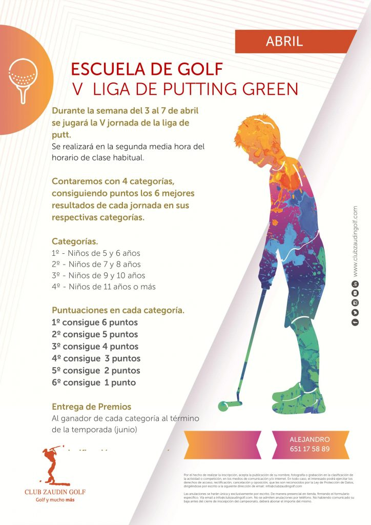 V Liga de Putting Green. Escuela de Golf